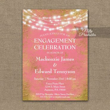 Engagement Party Invitation Pink Gold String Lights PRINTED