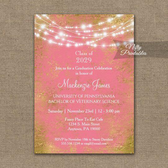 Graduation Invitations Pink Gold String Lights PRINTED