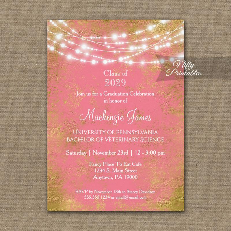 Graduation Invitation Pink Gold String Lights PRINTED