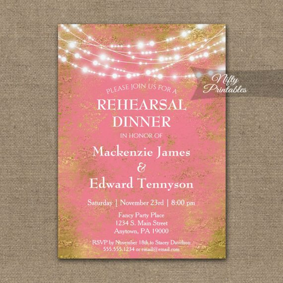 Rehearsal Dinner Invitation Pink Gold String Lights PRINTED