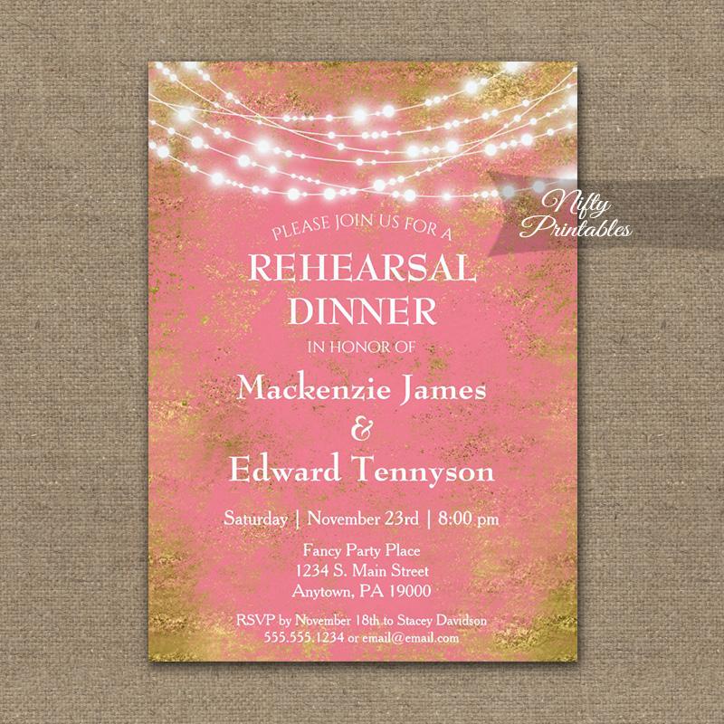 Rehearsal Dinner Invitation Pink Gold String Lights PRINTED