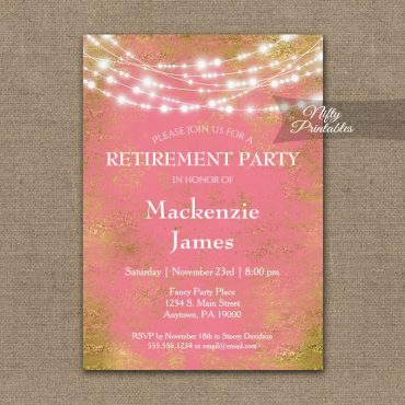 Retirement Invitation Pink Gold String Lights PRINTED