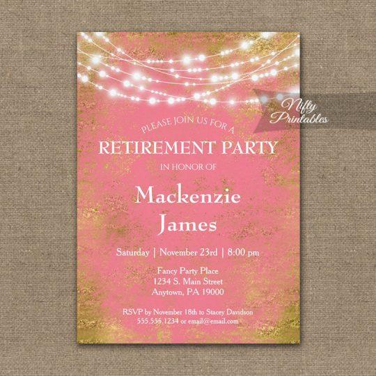 Retirement Invitations Pink Gold String Lights PRINTED