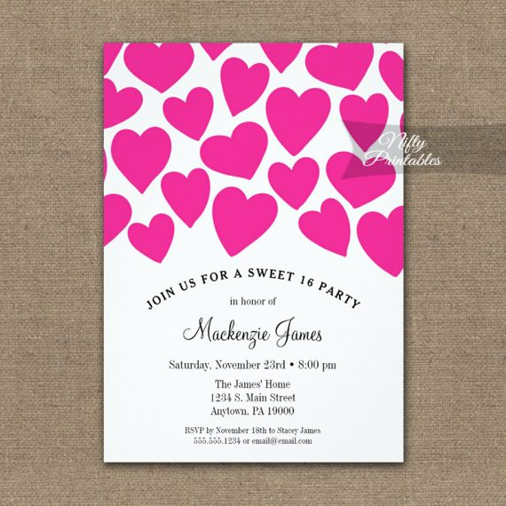 Birthday Invitation Pink Hearts Sweet Sixteen PRINTED