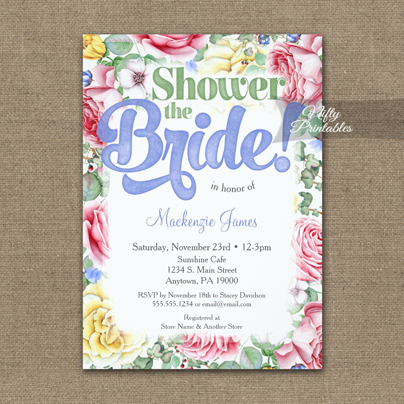 Bridal Shower Invitation Pink Roses Pretty Floral PRINTED