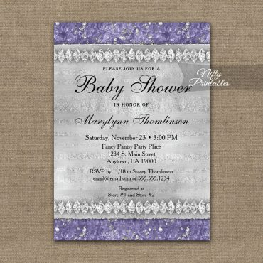 Baby Shower Invitations Purple Diamonds PRINTED