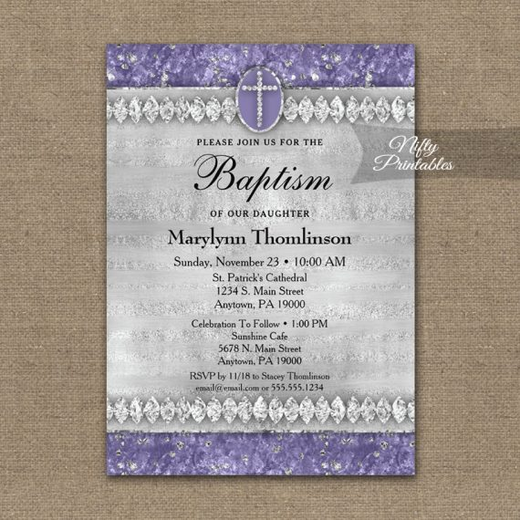 Baptism Invitation Purple Diamonds PRINTED