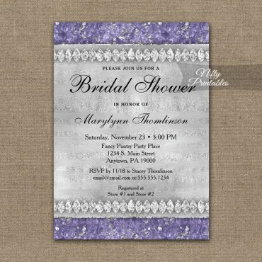 Bridal Shower Invitation Purple Diamonds PRINTED