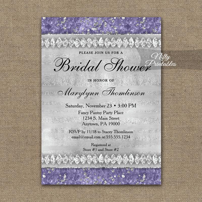 Bridal Shower Invitation Purple Diamonds PRINTED
