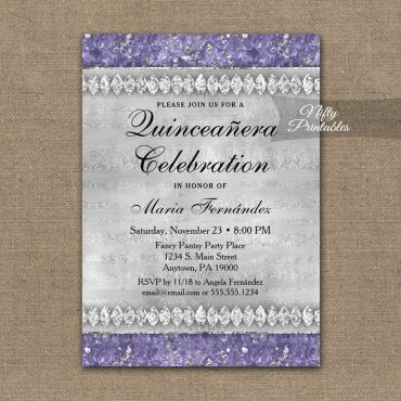 Quinceañera Invitation Purple Diamonds PRINTED