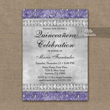 Quinceañera Invitations Purple Diamonds PRINTED