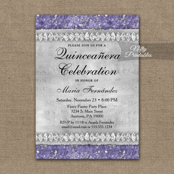 Quinceañera Invitation Purple Diamonds PRINTED