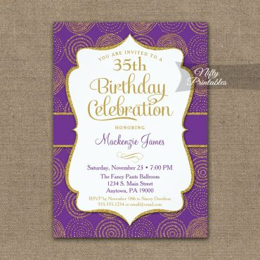 Birthday Invitation Purple Gold PRINTED