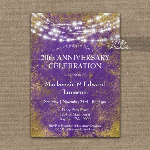 Anniversary Invitation Purple Gold Lights PRINTED