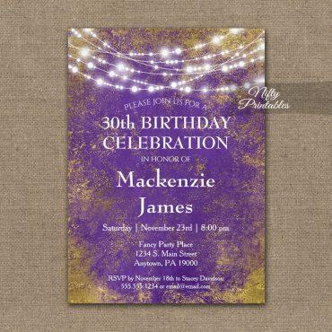 Birthday Invitations Purple Gold Lights PRINTED