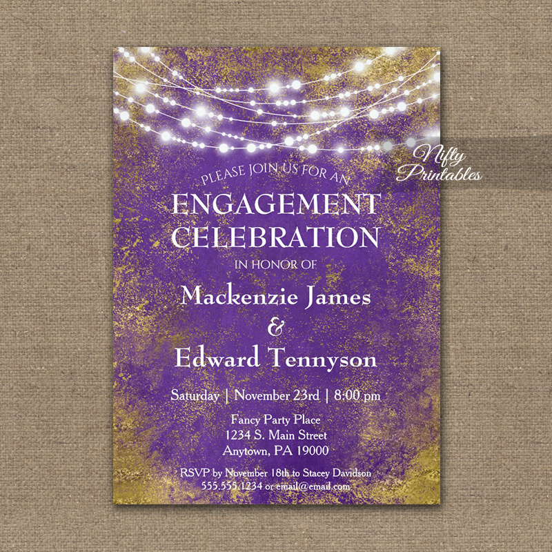 Engagement Party Invitation Purple Gold Lights PRINTED
