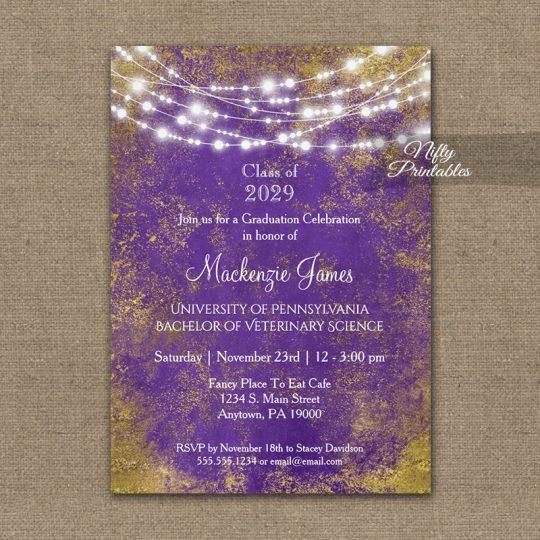 Graduation Invitations Purple Gold Lights PRINTED