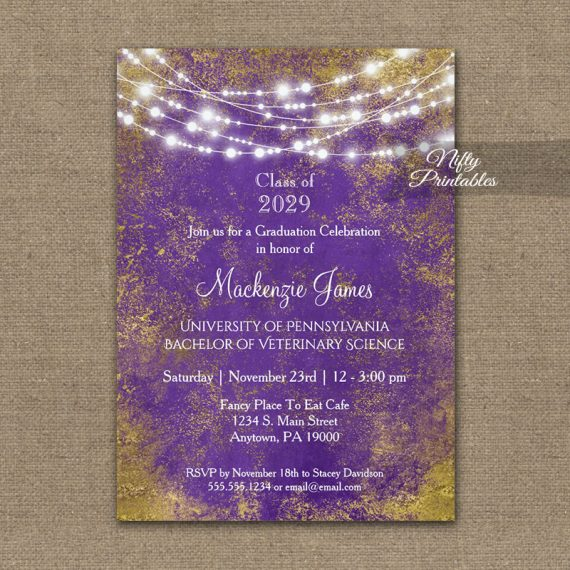 Graduation Invitation Purple Gold Lights PRINTED