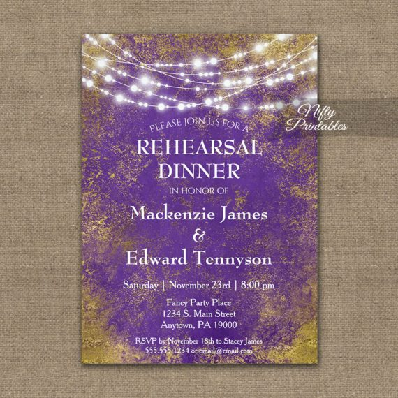 Rehearsal Dinner Invitation Purple Gold Lights PRINTED