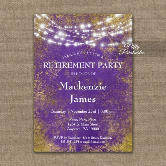Retirement Invitation Purple Gold Lights PRINTED