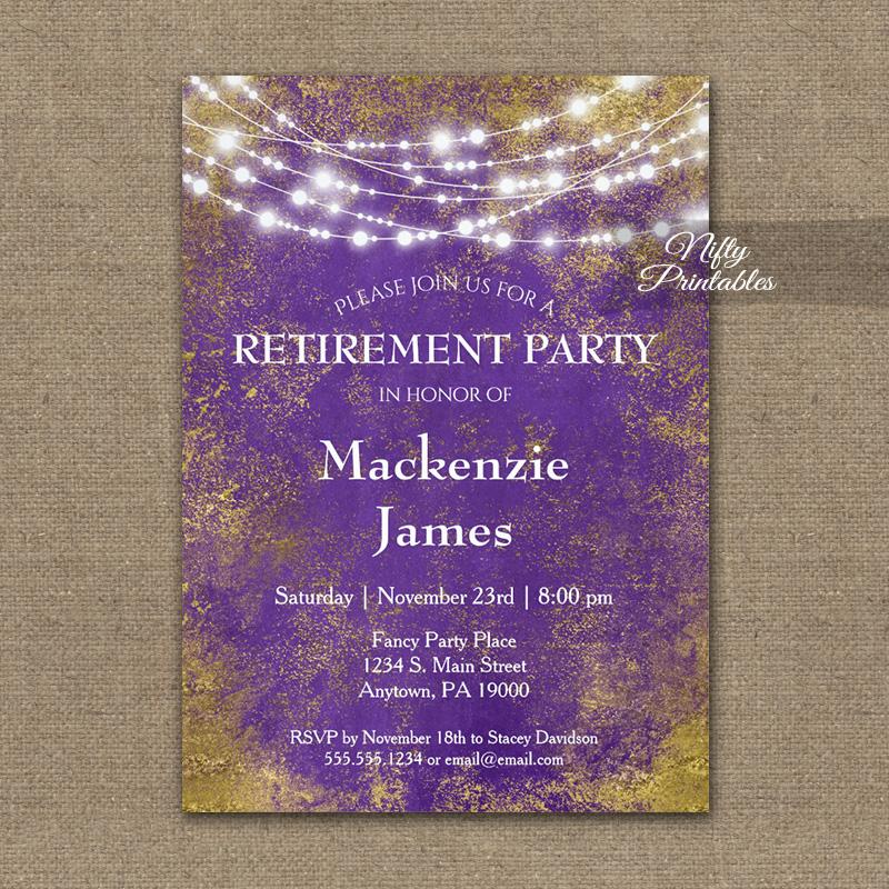Retirement Invitation Purple Gold Lights PRINTED