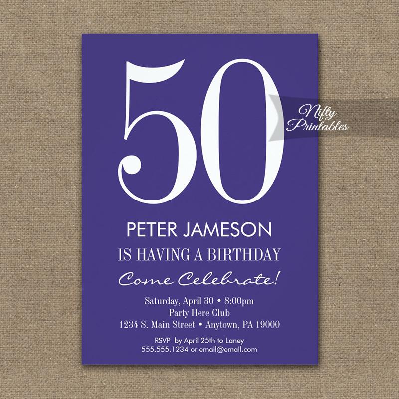 Birthday Invitation Purple & White Modern PRINTED