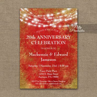 Anniversary Invitation Red Gold String Lights PRINTED