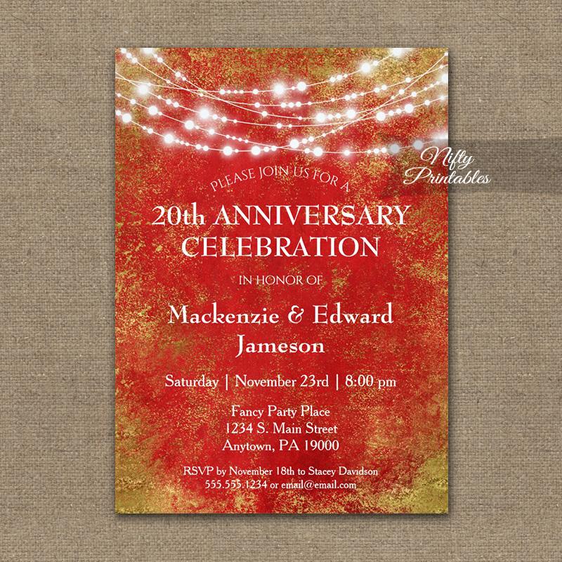 Anniversary Invitation Red Gold String Lights PRINTED