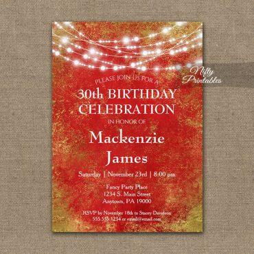 Birthday Invitations Red Gold String Lights PRINTED