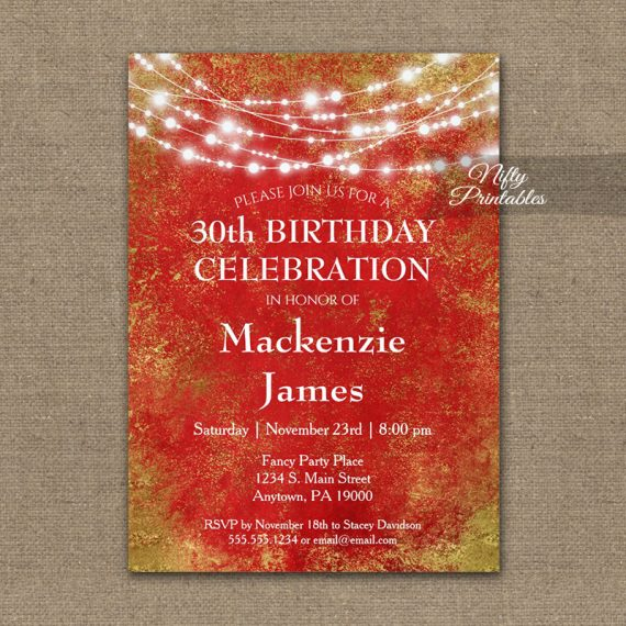Birthday Invitation Red Gold String Lights PRINTED