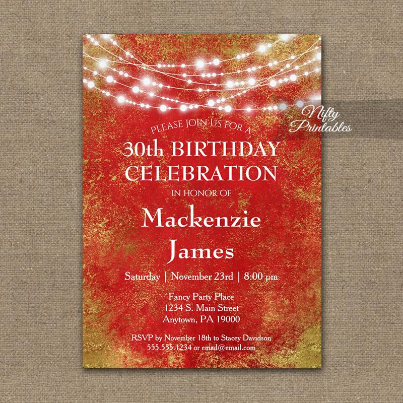 Birthday Invitation Red Gold String Lights PRINTED