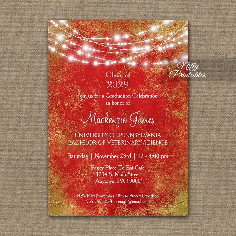 Graduation Invitation Red Gold String Lights PRINTED