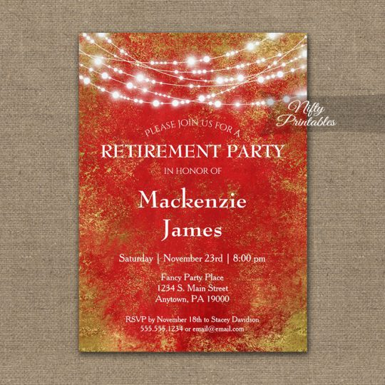 Retirement Invitations Red Gold String Lights PRINTED