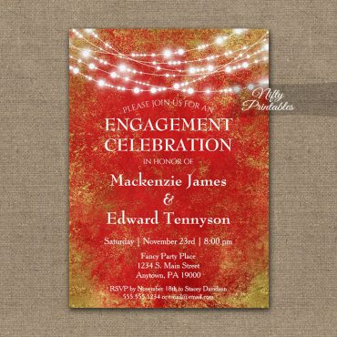Engagement Party Invitation Red Gold String Lights PRINTED