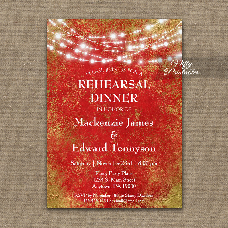 Rehearsal Dinner Invitation Red Gold String Lights PRINTED