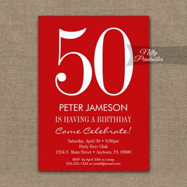 Birthday Invitation Red & White Modern PRINTED