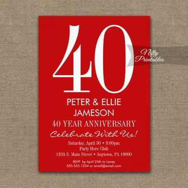 Anniversary Invitation Red & White Modern PRINTED
