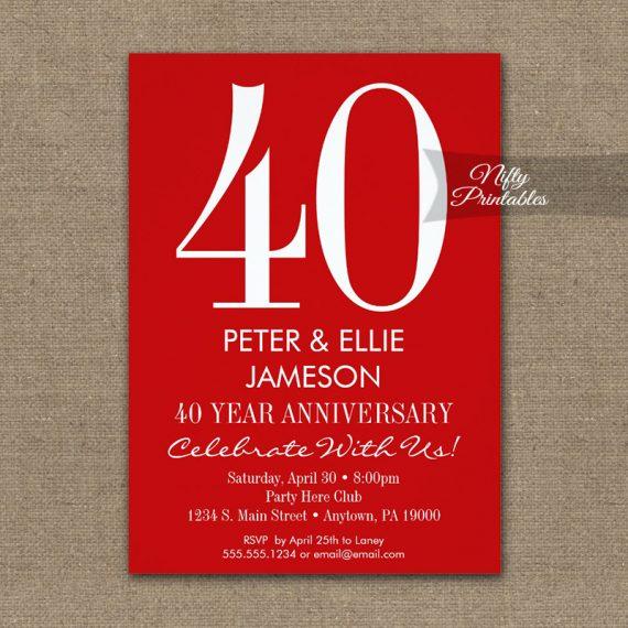 Anniversary Invitation Red & White Modern PRINTED