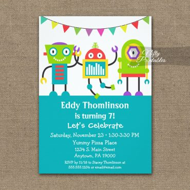Birthday Invitation Cute Colorful Robots PRINTED