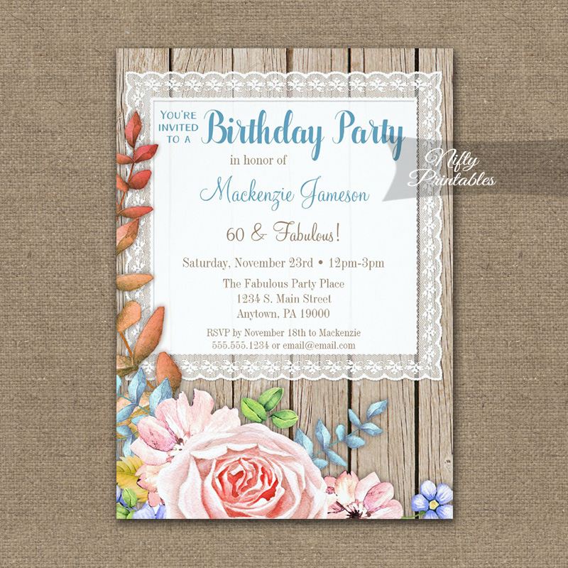 Birthday Invitation Pink Rose Rustic Lace Wood PRINTED