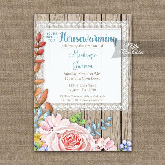 Housewarming Invitations Pink Rose Rustic Lace Wood PRINTED