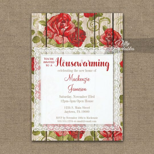 Housewarming Invitations Red Rose Rustic Lace Wood PRINTED