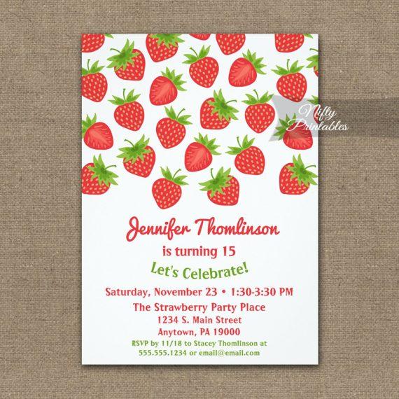 Birthday Invitation Strawberry PRINTED