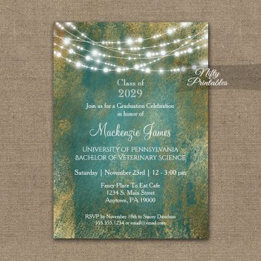Graduation Invitations Teal Gold String Lights PRINTED
