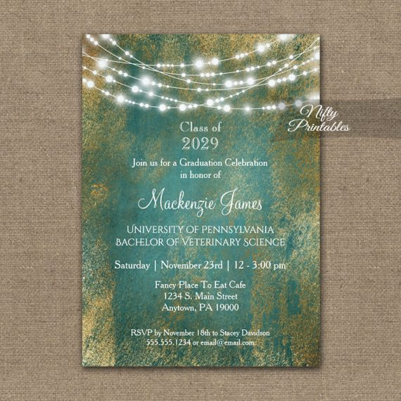 Graduation Invitation Teal Gold String Lights PRINTED