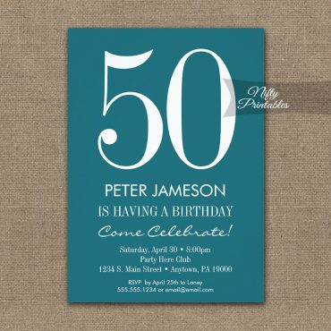 Birthday Invitation Teal Turquoise & White PRINTED