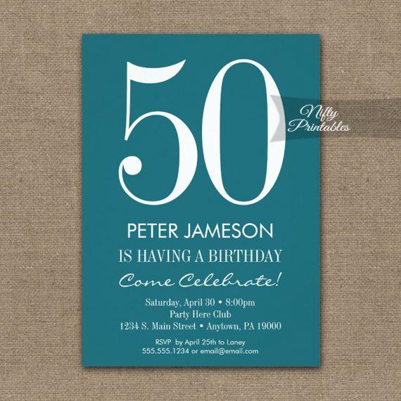 Birthday Invitation Teal Turquoise & White PRINTED