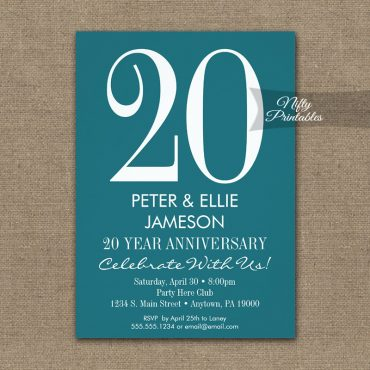 Anniversary Invitation Teal Turquoise & White PRINTED