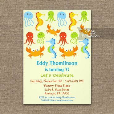 Birthday Invitation Under The Sea PRINTED