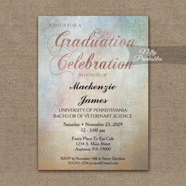 Graduation Invitation Watercolor Rose Gold PRINTED